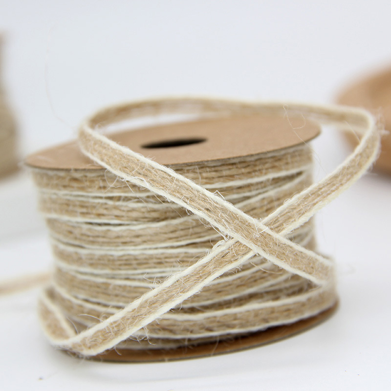 10M/Roll Jute Burlap Rolls Hessian Ribbon With Lace Vintage Rustic Wedding Decoration Party DIY Crafts Christmas Gift Packaging 3