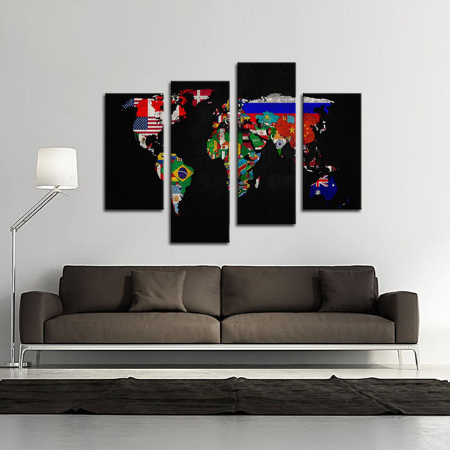 4 panles abstract world map canvas painting map paintings wall art 4 panles abstract world map canvas painting map paintings wall art flag in its countrys outline gumiabroncs Image collections