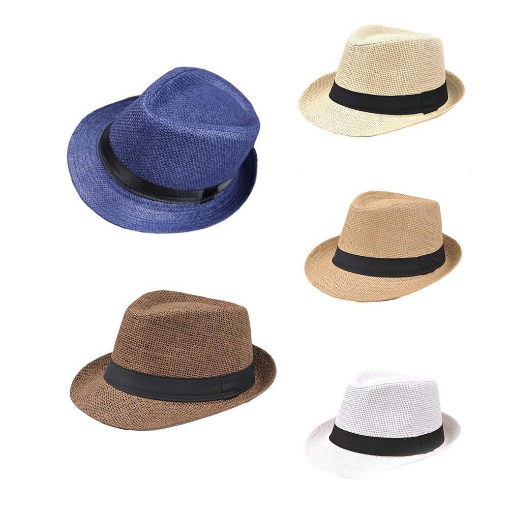 2018 HOT Sale Korean Style Straw Weaving Hat Edge Lovers Cap British Style Papyrus Jazz Hat Men's Outdoor Beach Children's Hat