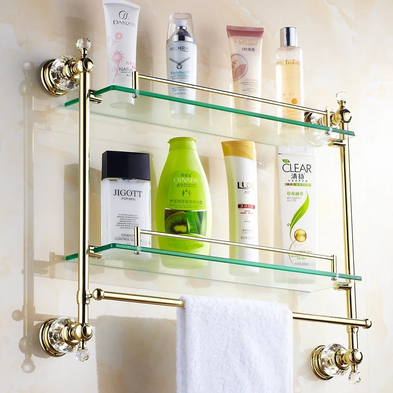 Gold Crystal Bathroom Shower Glass Shelf Bath Shower Shelf Corner Rack Gold  Shower Holder Bathroom Shelf Commodity Holder Shelf In Bathroom Shelves  From ...