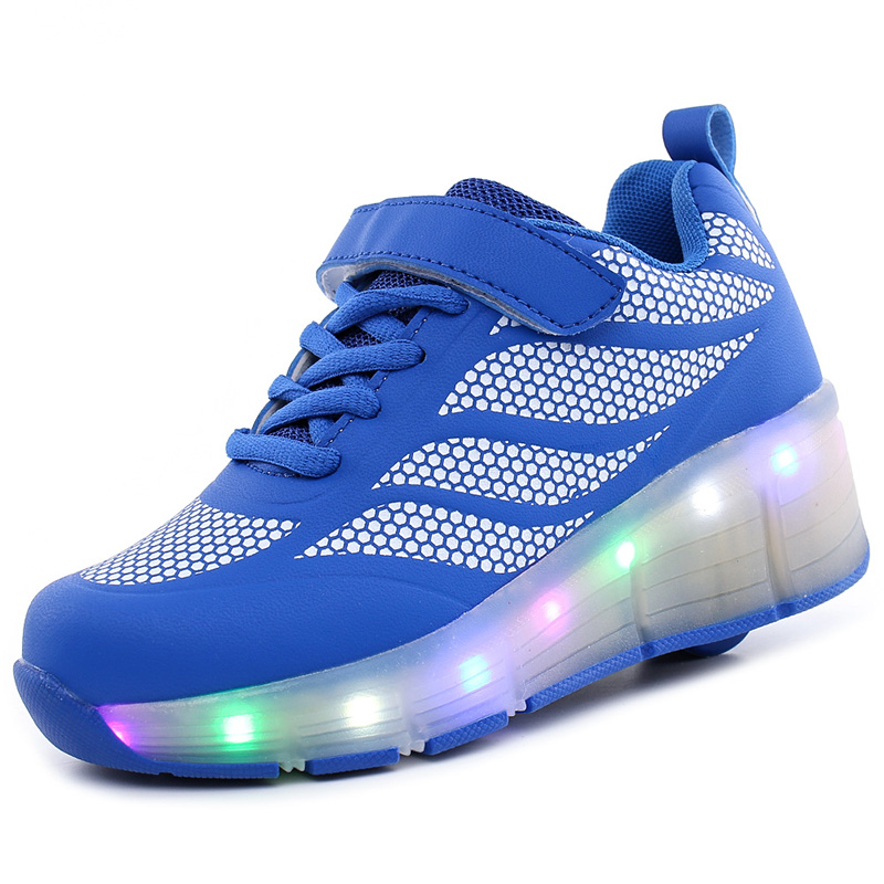 15 Styles Shoes Children Sport Wheel Shoes With LED Fashion Boys & Girls Casual Roller Skates Top Quality Kids Sneakers цена 2017