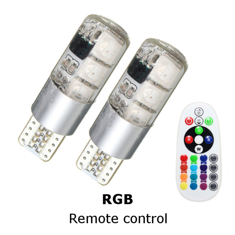 2pcs Flash/Strobe T10 194 168 W5W 5050 6SMD RGB LED Car Interior Reading Wedge Atmosphere Light Lamp Bulb With Remote Control 4pcs t10 w5w led car lights led bulbs rgb with remote control 194 168 501 strobe led lamp reading lights white red amber 12v