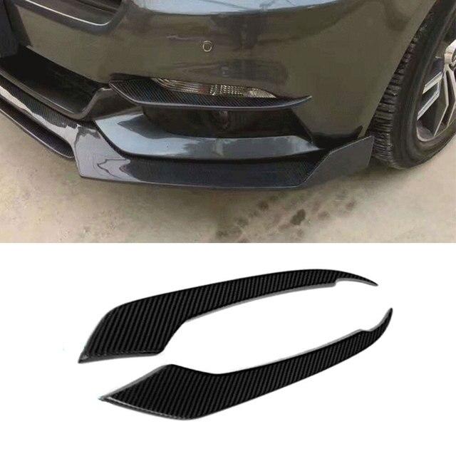 Carbon fiber front bumper headlight vent trims for Ford Mustang GT V8 V6 GT350R Coupe 2015 2016 2017