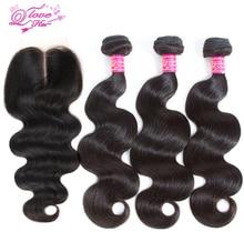 """1 կտոր ժանյակավոր վերևի փակումը 3 հատ հատ մազի փաթեթով, 4 հատ / լոտով, Բրազիլիայի Virgin Hair Hair Extension, Body Wave 12 """"-28"""" Անվճար առաքում DHL- ի կողմից"""