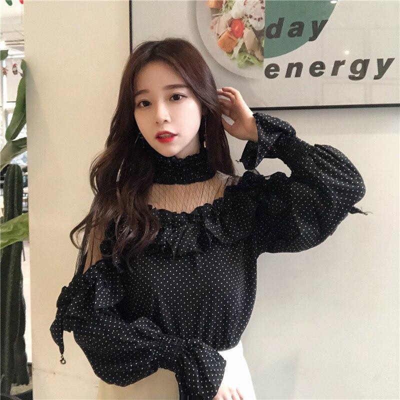 Transparent Mesh   Blouse     Shirt   Women Dot   Shirt   Ruffles Patchwork Tops Blusas Round Neck   Blouse   chemise feminine 2018