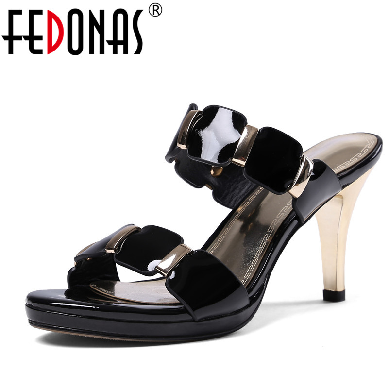 FEDONAS Fashion Women Elegant High Heels Sandals Sexy Genuine Leather Summer Black White Shoes Woman Females Slippers Sandals 2018 summer new genuine leather women slippers sexy cut outs high heels shoes fashion slides natural leather sandals for women