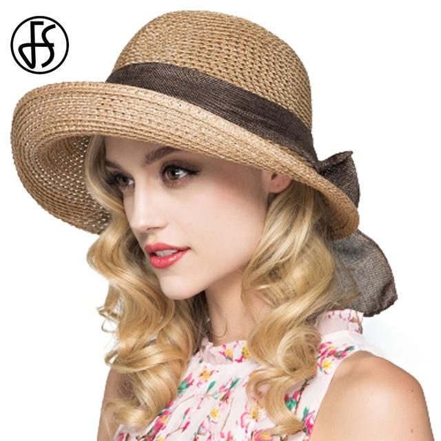 6f6ea984510ae FS Summer Sun Hats For Women Foldable 2018 Straw Sunbonnet Wide Brim Floppy  Cloche Hat Vacation Beach Style Chapeau Paille Femme