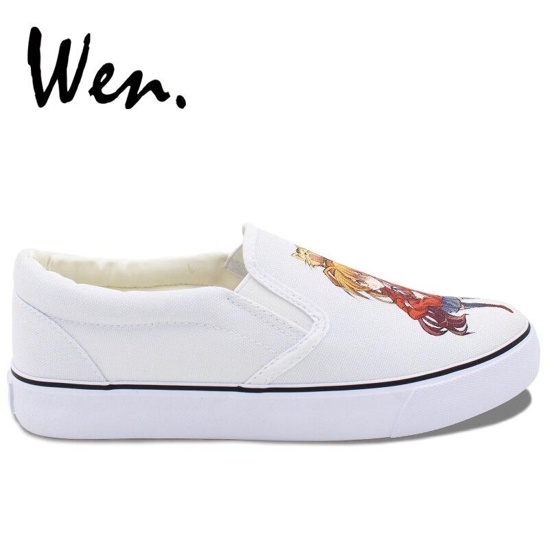 Wen Low Main Dragon forme Sneakers Bretelles Chaussures À Plat Slip Peintes Top Anime Plate Sur Toiles Femmes Tigre La Conception Vulcanisées 4RL5Aj