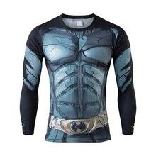 High quality fashionable man 3D digital printing long sleeve T-shirt superhero comics tight quick dry news T-shirt
