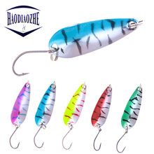 Купить с кэшбэком Spoon Fishing Lures 4.3cm 5.3g Spinner Baits Artificial Bass Hard Sequin Paillette Metal Steel Hook Tackle For Sea Lure Wobblers