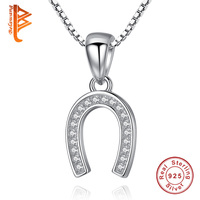 2018 Fashion Lucky Horseshoe Necklace 925 Sterling Silver Crystal U Pendant Necklace Chain Women Wedding Horse