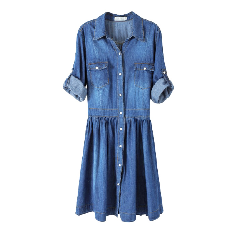 c0a01cefdb Women Fashion Jean Casual Denim Dress Half Sleeve Knee Length Dress  Vestidos Femininos Women Clothing Jeans Dresses Large Sizes-in Dresses from  Women s ...