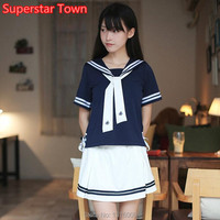 Lolita JK Uniform Japanese High School Student Navy Collar Suit Girls Preppy Style Sailor Shirts and Mini Skirt Cosplay Costume