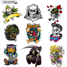 Nicediy 3D Punk Skull Patches Iron Transfers For Clothes T-Shirt Ironing Stickers Heat Thermal Patch Applique Washable