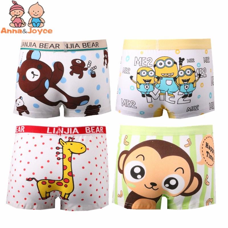 4 Pcs/ Lot  Boys Underwear Boxer  High Quality Cotton Modal Panties  Children  Cartoon Boxer Kids Underwear Underpants