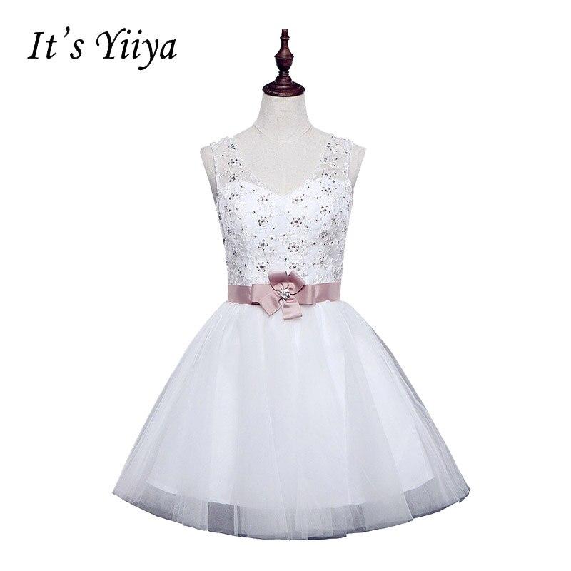Free shipping new 2017 design romantic white V-neck Sleeveless Short ...