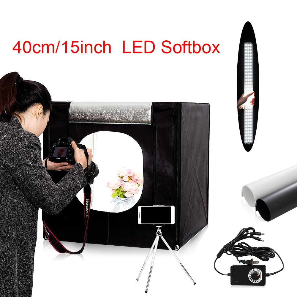 Free ship 40 40 40cm portable LED photo studio Light Tent set 2 Backdrops dimmer switch
