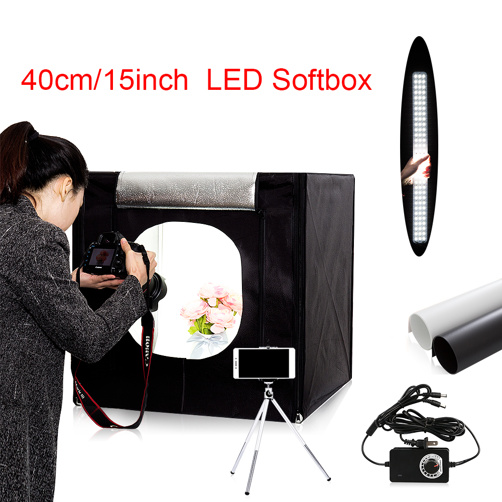 купить Free ship 40*40*40cm portable LED photo studio Light Tent set+2 Backdrops+dimmer switch photography tent kit mini box photo box онлайн
