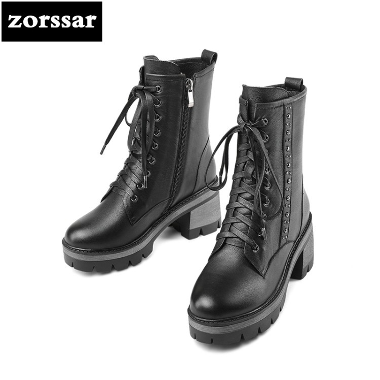 {Zorssar} Genuine Leather Platform Heels Women Ankle Boots Soft Leather Thick high Heel Platform Boots Winter Warm Fur boots{Zorssar} Genuine Leather Platform Heels Women Ankle Boots Soft Leather Thick high Heel Platform Boots Winter Warm Fur boots
