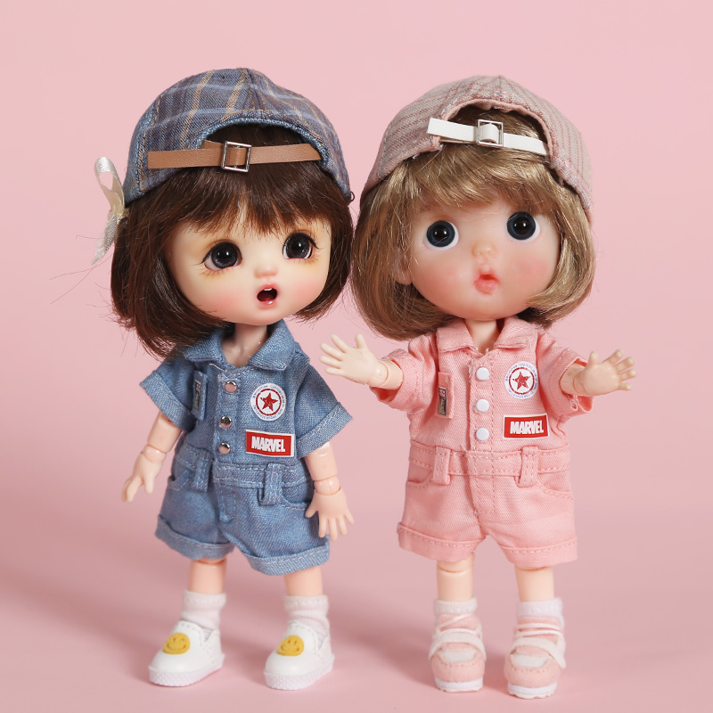 New Cool Doll Clothes Fashion Work Pants/Hat For Ob11,obitsu11,holala, 1/12bjd Doll Clothes Accessories For Doll