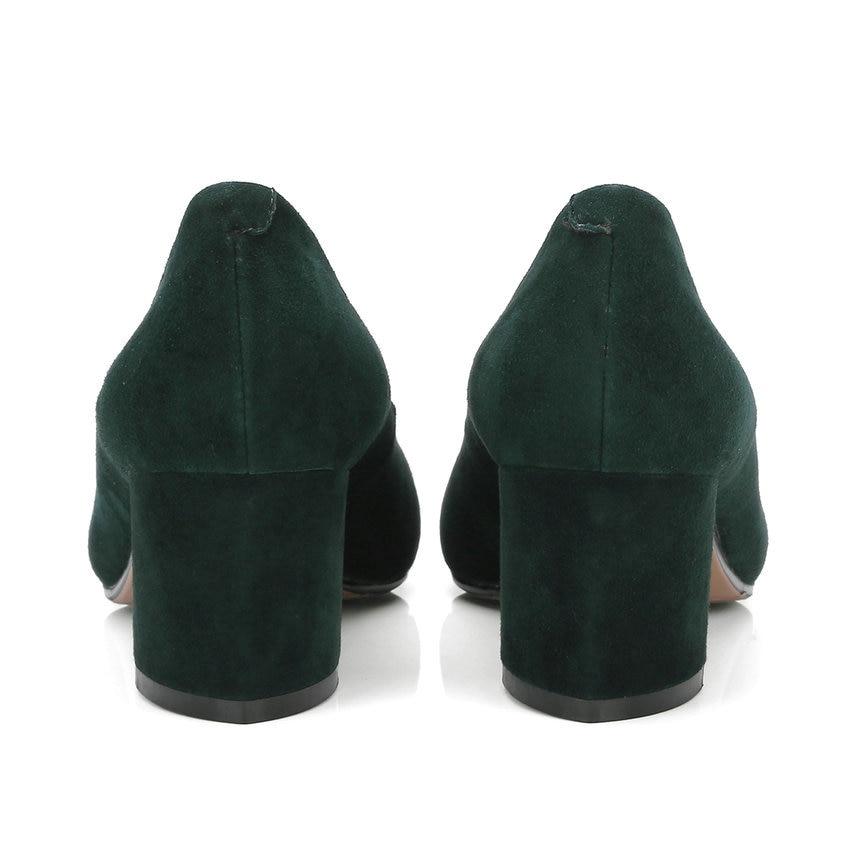 Tasslynn 2018 Peu Taille Pu Profonde vert Suede 34 Sabot 43 Haute Bout Automne Pompes Chaussures Kid Sur Femmes Printemps Gris Slip Talons Pointu ddUxr