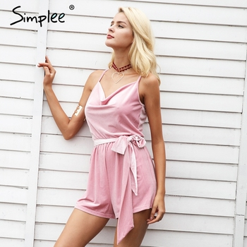 Casual v neck sashes short overalls jumpsuit