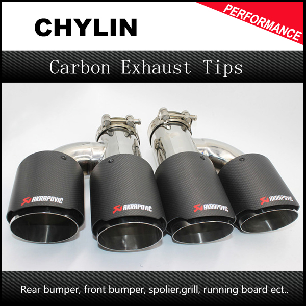 A Pair ID 63mm (2.5) OD 89mm (3.54) Stainless Steel Ak H Style Exhaust Tip Carbon Fiber Muffler Tip Dual Universal Exhaust Pip 1pc black stainless steel car exhaust tip id 51mm 54mm 57mm 60mm 63mm od 89mm 101mm akrapovic carbon fiber exhaust tip dual