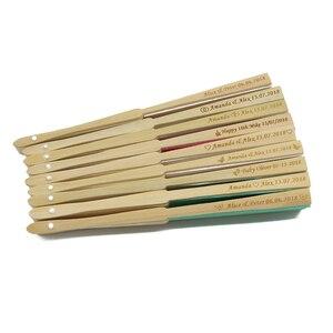 Image 2 - 50Pcs Gepersonaliseerde Gegraveerde Vouwen Hand Bruiloft Zijde Fan Kiezen Fold Vintage Fans Organza Gift bag CustomizedParty Gunsten
