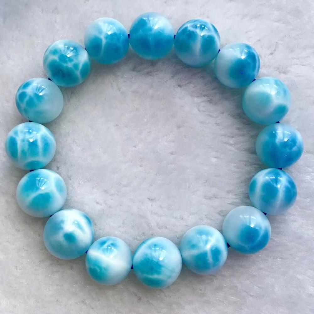 Natürliche Blau Larimar Edelstein Wasser Muster Anhänger 35x16x13mm Runde Perlen Armband 11,6mm Frauen Mann barrel Form Geschenk AAAAA-in Anhänger aus Schmuck und Accessoires bei  Gruppe 2