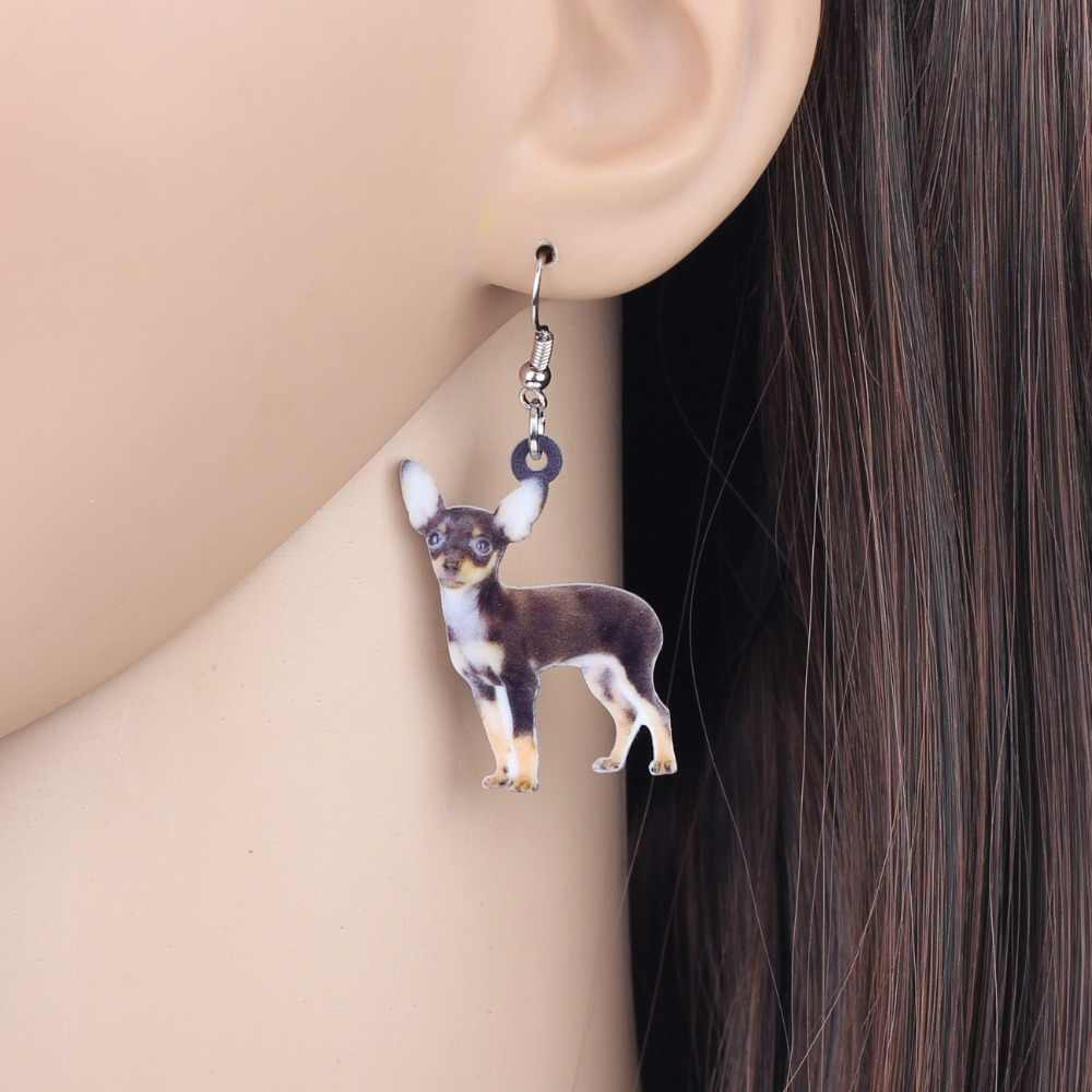 Bonsny Acrylic Anime Chihuahua Dog Earrings Big Long Dangle Drop Animal Jewelry For Women Ladies Teens  Accessories 2018 News