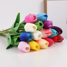 10 pcs/lot Fake PU Artificial Tulips Flowers Purple Pink Artificiales Bouquets For Home Party Wedding Decoration Silk Flower
