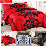 228x228cm Creative Black Flower Red Quilt Duvet Cover Pillowcase 3pcs Bedding Set Adult Couple Double Queen King Size Bedspreads