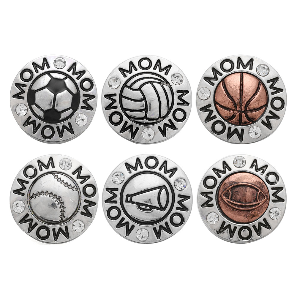 10PCS Snap Charm Button Volleyball Rhinestone Gingers Snap Chunk Button Jewelry