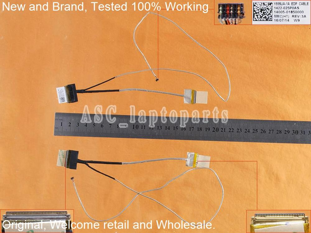 New Original LCD LED Video Flex Cable For ASUS X555UA-1A X555UB A555U A555UA X556 W519L EDP 14005-01850000 1422-025P0AS