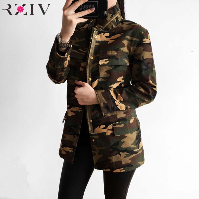 Jacket 2018 Militaire Rziv Military Veste Spring And Women Femme Camouflage Multi gq11CAxw
