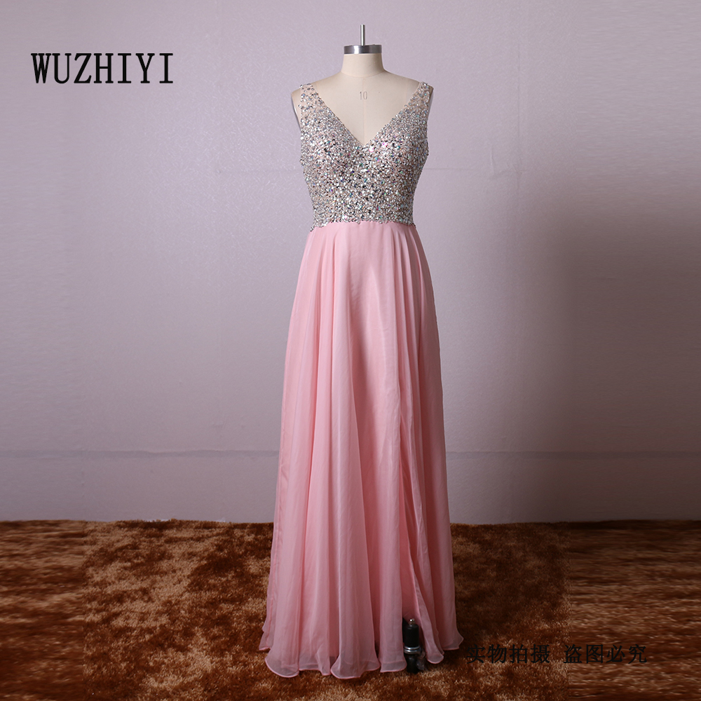WUZHIYI Chiffon Beading Bodice black girl prom dress 2017 Sexy V neck burgundy prom dresses mermaid cap sleeves Prom Party gown