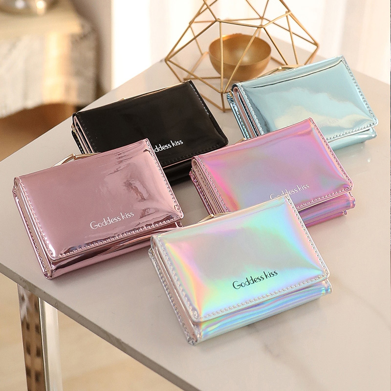 New Women Laser Holographic Wallets Short Cute Purse Small Wallet Women Folding Wallet Card Holder Coin Purse Portefeuille Femme