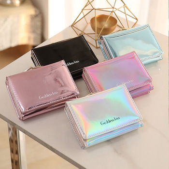 New Women Laser Holographic Wallets Short Cute Purse Small Wallet Folding Card Holder Coin Portefeuille Femme