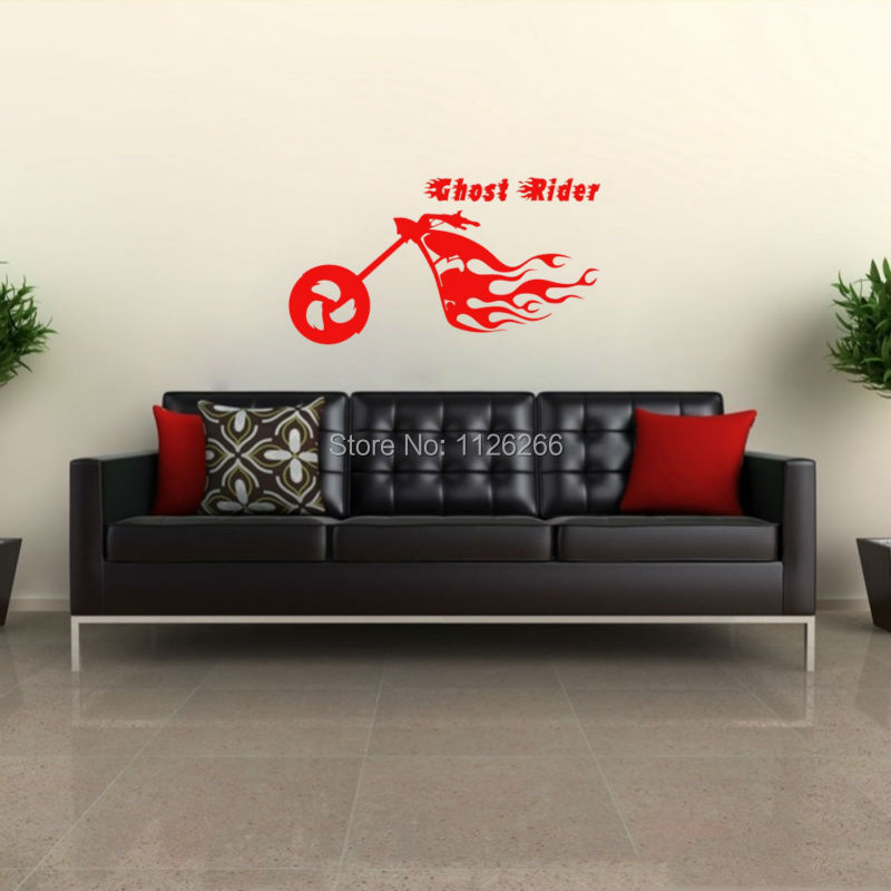 Creative Ghost Rider Motorcycle Vinyl Stickers Fire Flaming Motor Wall  Decals And Murals For Living Room