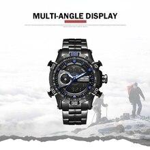 7a43b7a2d088 Reloj WEIDE moda e informal de lujo deportivo para hombre reloj Digital de  cuarzo de acero