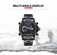 WEIDE fashion & casual Luxury Watch Sport Men Digital Stainless Steelin Quartz LCD Analog Watches Water Resistant Alarm Clock