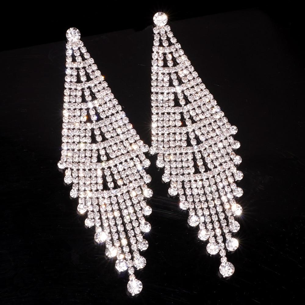 Luxury Rhinestone Crystal Long Tassel Earrings for Women Big Drop Dangle Wedding Bridal Earrings Wedding Accessory Jewelry E1748