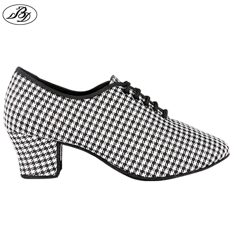 2019 Sneakers Women Dance Shoes BD Latin Dance  Standard Dancing Houndstooth Pattern Silver Ladies Teaching Shoes