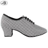 2019 Sneakers Women Dance Shoes BD Latin Dance Standard Dancing Houndstooth pattern Silver Ladies Teaching Shoes