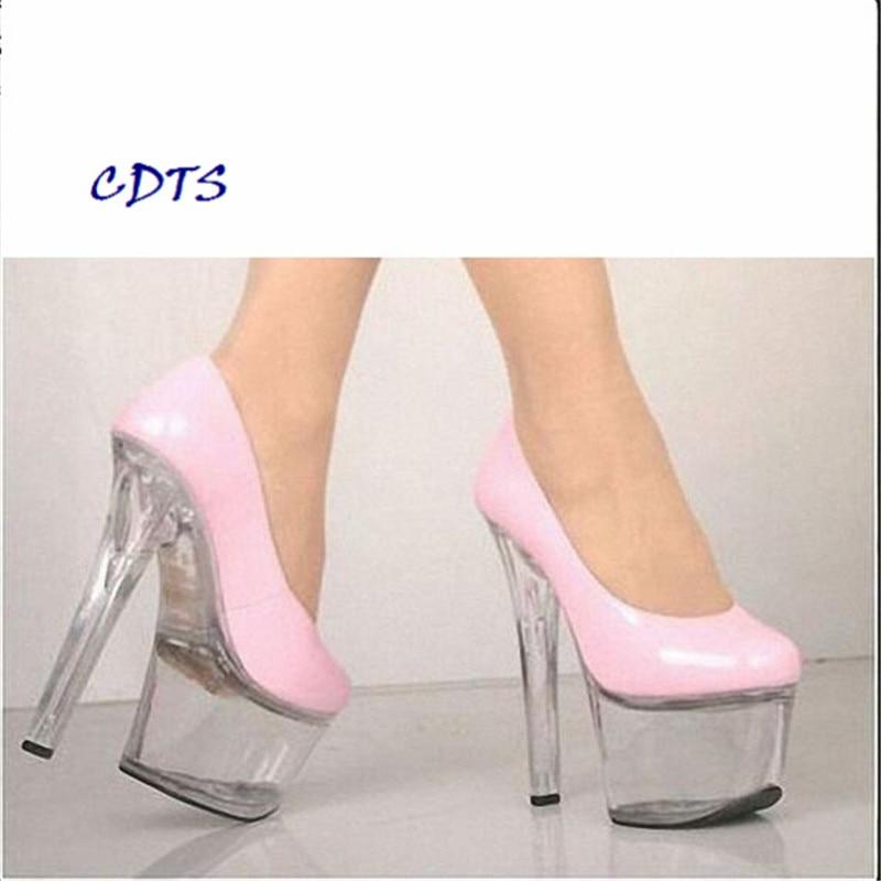 ФОТО big:35-45 46 CDTS 2016 Newest Designer 17cm thin heels Crystal platform sexy Patent Leather shoes woman bridal/wedding pumps