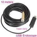 10 metro 14mm USB Endoscópio Indústria Cobre câmera 4 LEDs À Prova D' Água Câmera de Inspeção Borescope usb endoscopio tubo cobra Cam
