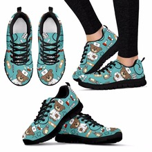 doginthehole Flat Sneakers Women Cute Cartoon Nurse Pattern Flats For Female Ladies Girls Bear Print Lightweight Mesh Walk Shoes