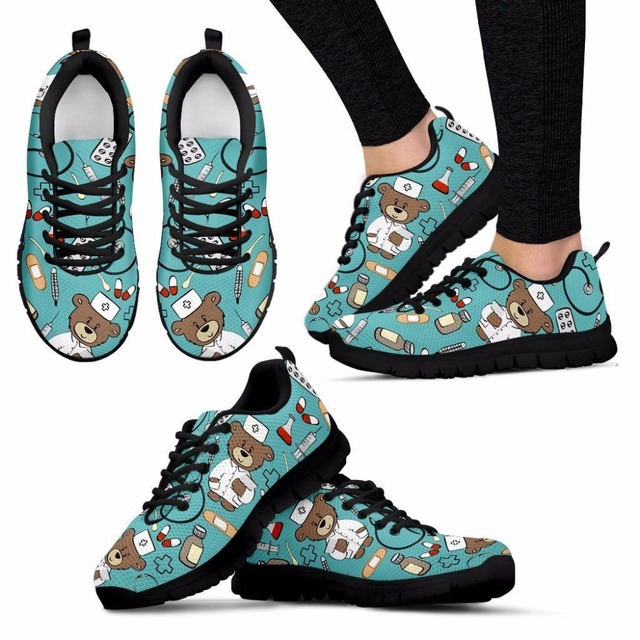 doginthehole Flat Sneakers Women Cute Cartoon Nurse Pattern Flats For Female Ladies Girls Bear Print Lightweight Mesh Walk Shoes