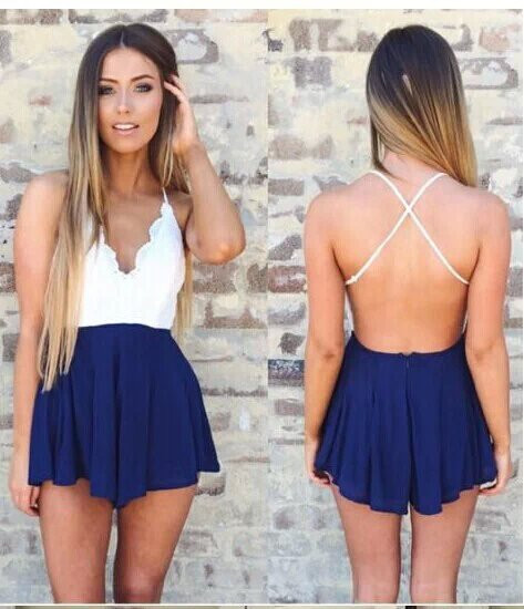 Women Lace Floral Striped Playsuit Skirt Shorts Sexy Jumpsuit macacao feminino Summer Style vestido Romper bodysuit