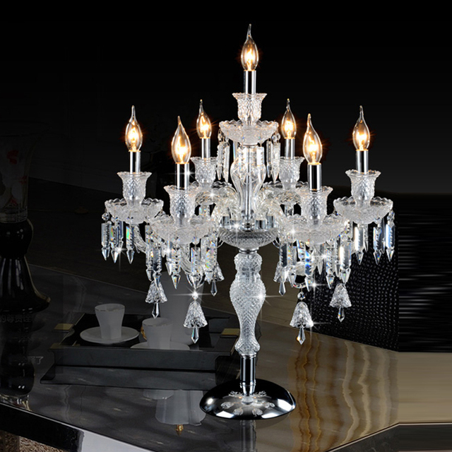 Candelabra Table Lamp Crystal Table Light Crystal Table Lamp Bedside  Wedding Table Candelabra Led Desk Lamps